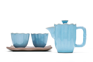 Tea For Two Set With Blue Crackle Glaze