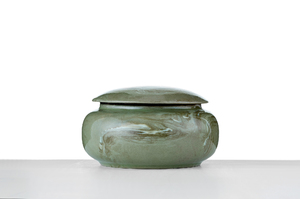 Round Tea Caddy With Light Moss Green Glaze