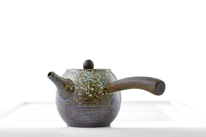Round Teapot With Brown And Mustard Mottled Glaze