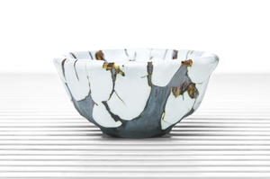 Deep Conical Tea Bowl With White Crackle Glaze
