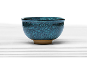 Roundish Tea Bowl With Dark Blue