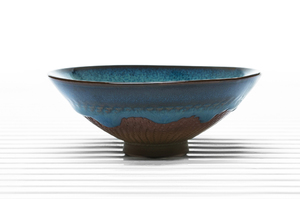 Conical Tea Bowl With Blue Glaze