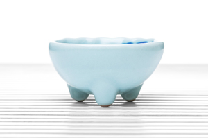 Hemisphere Three-Legged Tea Bowl With White Crackle Glaze