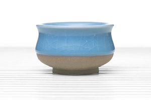 Deep Roundish Tea Bowl With Greyish Blue Crackle Glaze