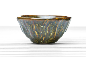 Deep Conical Tea Bowl With Moss Green, Amber And Brown Glaze