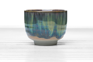 Half Cylinder Footed Tea Bowl With Green Drip Glaze