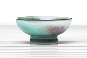 Sea Green Tea Bowl With Tall Foot